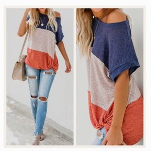 Colorblock Tee Knot Front Knit Top Shirt